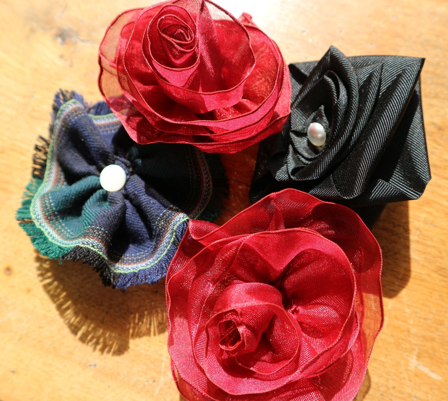 Ribbon Flower Brooches