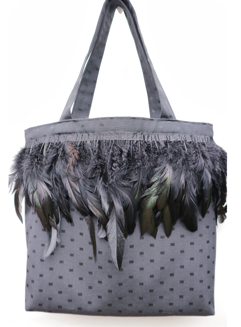 Black Feather Tote Bag